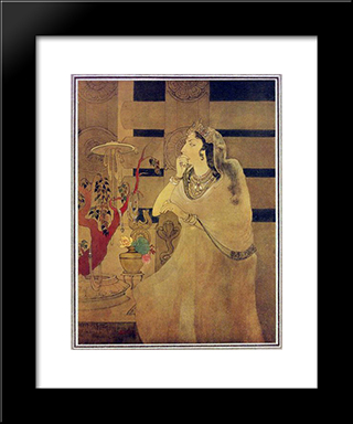 Asoka'S Queen: Modern Black Framed Art Print by Abanindranath Tagore