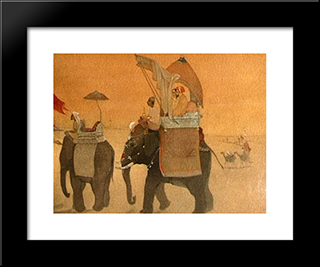 Emperor'S March To Kashmir: Modern Black Framed Art Print by Abanindranath Tagore