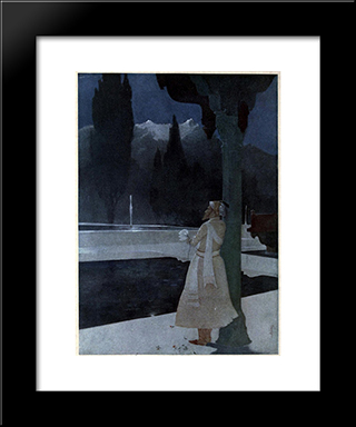 Night At The Shalimar - The Emperor Shah Jahan: Modern Black Framed Art Print by Abanindranath Tagore