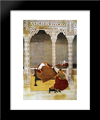 The Passing Of Shah Jahan: Modern Black Framed Art Print by Abanindranath Tagore