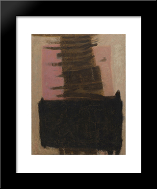 Composition In Black & Ochre: Modern Black Framed Art Print by Adja Yunkers