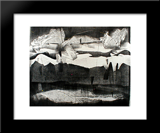 Rain On The Mesa - New Mexico: Modern Black Framed Art Print by Adja Yunkers