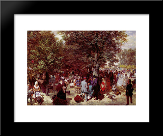 Afternoon In The Tuileries Gardens: Modern Black Framed Art Print by Adolph Menzel