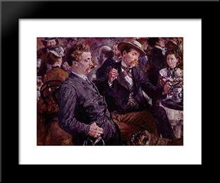 At The Beer Garden: Modern Black Framed Art Print by Adolph Menzel