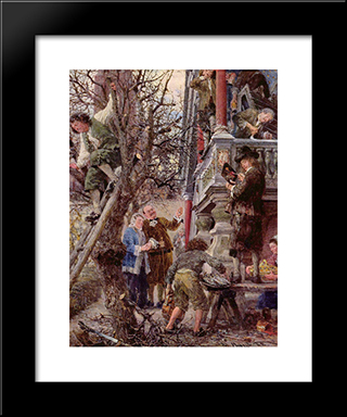 Beati Possidentes (Blessed Are Those Who Have): Modern Black Framed Art Print by Adolph Menzel