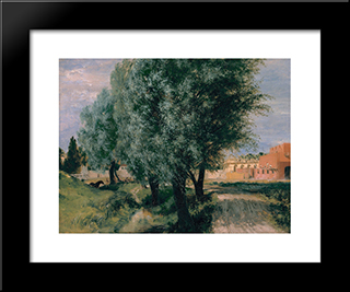 Building Site With Willows: Modern Black Framed Art Print by Adolph Menzel