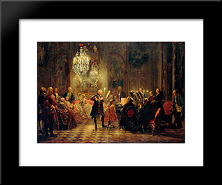 Flute Concert With Frederick The Great In Sanssouci: Modern Black Framed Art Print by Adolph Menzel
