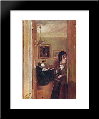 Living Room With The Artist'S Sister: Modern Black Framed Art Print by Adolph Menzel