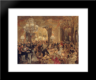 The Dinner At The Ball: Modern Black Framed Art Print by Adolph Menzel
