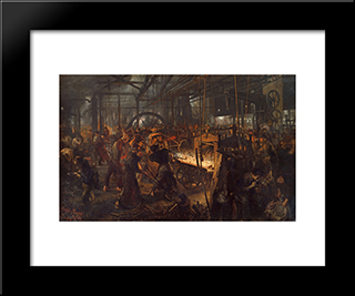 The Iron Rolling Mill (Modern Cyclopes): Modern Black Framed Art Print by Adolph Menzel