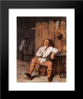 A Boor Asleep: Modern Black Framed Art Print by Adriaen Brouwer