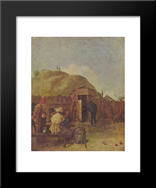 Drinkers In The Yard: Modern Black Framed Art Print by Adriaen Brouwer