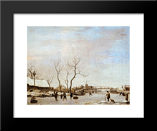 Frozen Canal With Skaters And Hockey Players: Modern Black Framed Art Print by Adriaen van de Velde