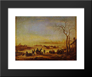 A Frozen Lake: Modern Black Framed Art Print by Adriaen van Ostade