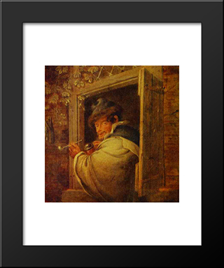 A Man In The Window: Modern Black Framed Art Print by Adriaen van Ostade