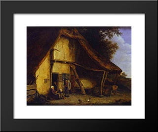 A Peasant Family Outside A Cottage: Modern Black Framed Art Print by Adriaen van Ostade