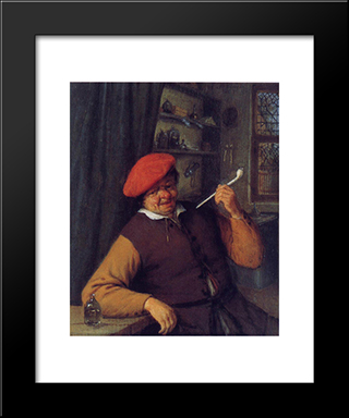 A Peasant In A Red Beret Smoking A Pipe: Modern Black Framed Art Print by Adriaen van Ostade