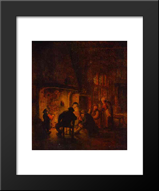 A Talk At Fireplace: Modern Black Framed Art Print by Adriaen van Ostade