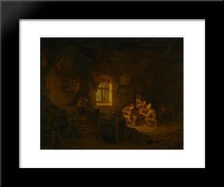 A Tavern Interior With Peasants Drinking Beneath A Window: Modern Black Framed Art Print by Adriaen van Ostade