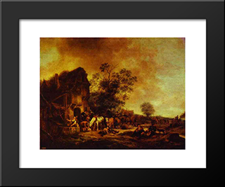 A Village Inn: Modern Black Framed Art Print by Adriaen van Ostade
