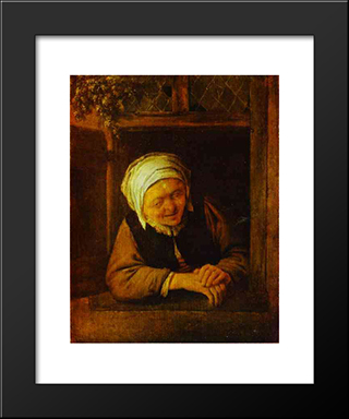 An Old Woman By Window: Modern Black Framed Art Print by Adriaen van Ostade