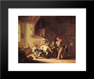 Barber Extracting Of Tooth: Modern Black Framed Art Print by Adriaen van Ostade
