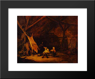 Children Playing In A Barn: Modern Black Framed Art Print by Adriaen van Ostade