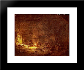 Cottage Interior With A Family Around The Hearth: Modern Black Framed Art Print by Adriaen van Ostade