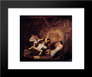 Country Concert: Modern Black Framed Art Print by Adriaen van Ostade