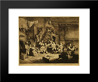 Dance At The Inn: Modern Black Framed Art Print by Adriaen van Ostade