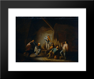 Dancing Couple And Merry Company In An Interior: Modern Black Framed Art Print by Adriaen van Ostade