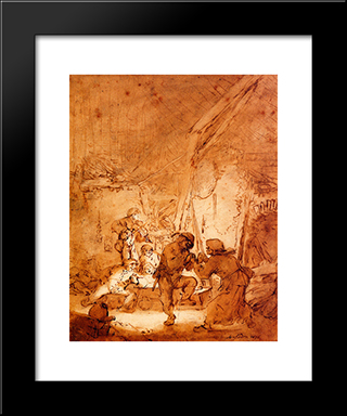Dancing Farmers: Modern Black Framed Art Print by Adriaen van Ostade