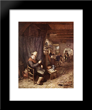 Drinking Peasant In An Inn: Modern Black Framed Art Print by Adriaen van Ostade