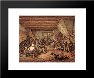 Feasting Peasants In A Tavern: Modern Black Framed Art Print by Adriaen van Ostade