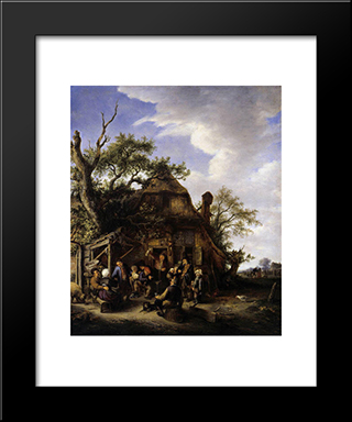 Happy Peasants: Modern Black Framed Art Print by Adriaen van Ostade