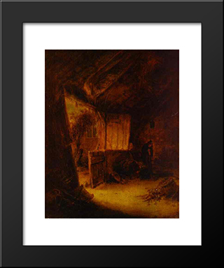 In A Barn: Modern Black Framed Art Print by Adriaen van Ostade