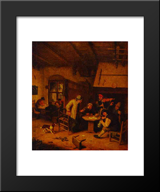 In A Tavern: Modern Black Framed Art Print by Adriaen van Ostade