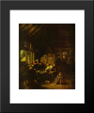 In The Village Inn: Modern Black Framed Art Print by Adriaen van Ostade