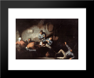 Inn Scene: Modern Black Framed Art Print by Adriaen van Ostade