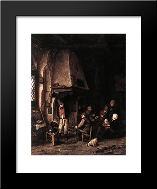 Interior Of A Farmhouse With Skaters: Modern Black Framed Art Print by Adriaen van Ostade