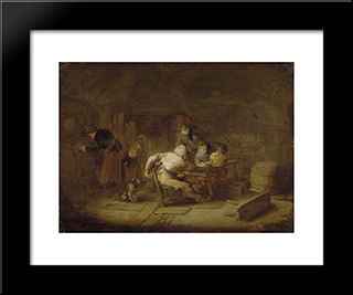 Interior Of A Tavern: Modern Black Framed Art Print by Adriaen van Ostade