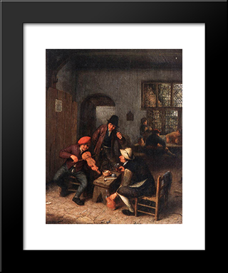 Interior Of A Tavern With Violin Player: Modern Black Framed Art Print by Adriaen van Ostade