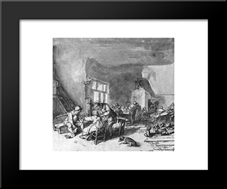 Interior Of An Inn: Modern Black Framed Art Print by Adriaen van Ostade