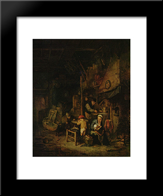 Interior With A Peasant Family: Modern Black Framed Art Print by Adriaen van Ostade