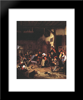 Merrymakers In An Inn: Modern Black Framed Art Print by Adriaen van Ostade