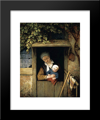 Mother Holding Her Child In A Doorway: Modern Black Framed Art Print by Adriaen van Ostade