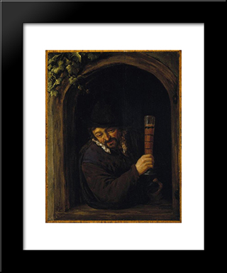Peasant At A Window: Modern Black Framed Art Print by Adriaen van Ostade