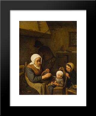 Peasant Family: Modern Black Framed Art Print by Adriaen van Ostade