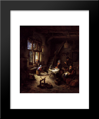 Peasant Family In A Cottage Interior: Modern Black Framed Art Print by Adriaen van Ostade