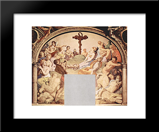 Adoration Of The Cross With The Brazen Serpent: Modern Black Framed Art Print by Agnolo Bronzino